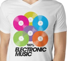 100% Electronic Music Mens V-Neck T-Shirt