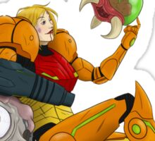 Samus and Baby Metroid Sticker