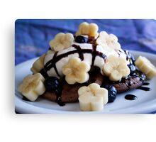 Mini Chocolate Pancakes with Cream, Blueberries & Banana Sakura Canvas Print