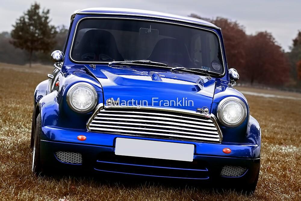The original Mini true Brit in blue by Martyn Franklin