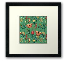 Floral green pattern with butterflies Framed Print