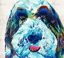 Bearded Collie Art - Dog Portrait by Sharon Cummings by Sharon Cummings