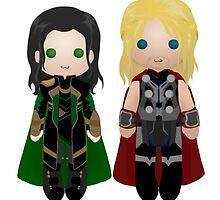 Thor and Loki cuties  by TreeMuse