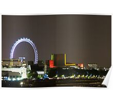 Cityscape at night with London Eye. Poster