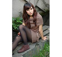 young lady sit down in park Photographic Print