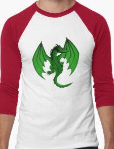 Green Clinging Dragon Men's Baseball ¾ T-Shirt