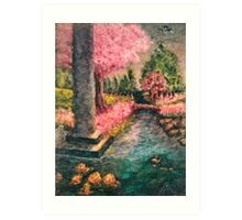 Cherry Tree and Tranquil Waters Art Print