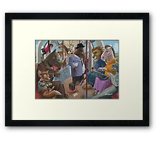 animals on a tube train subway commute Framed Print