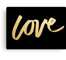 Love Gold Black Typography Canvas Print