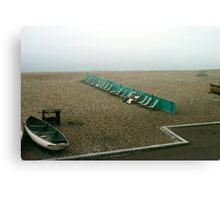 Brighton beach on a cold day in May, UK, 1980s. Canvas Print