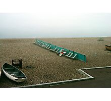 Brighton beach on a cold day in May, UK, 1980s. Photographic Print
