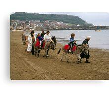 Donkey ride on Scarborough beach, England, UK, 1980s Canvas Print