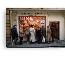 Queuing at a Butchers shop, England, UK, 1980s Canvas Print