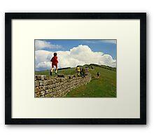 Children running along Hadrian's Wall, England, UK,1980s Framed Print