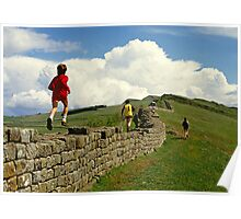 Children running along Hadrian's Wall, England, UK,1980s Poster
