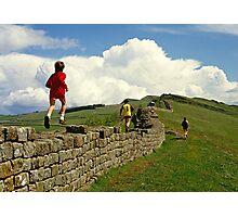 Children running along Hadrian's Wall, England, UK,1980s Photographic Print