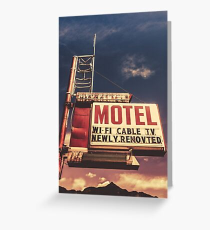 Retro Vintage Motel Sign Greeting Card