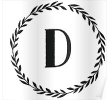 Monogram Wreath - D Poster