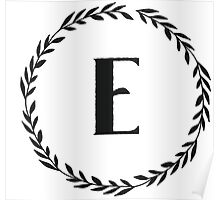 Monogram Wreath - E Poster