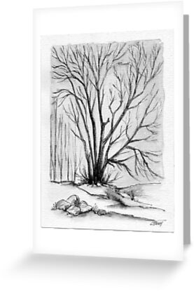 FALL TREE - AQUAREL AND ECOLINE by RainbowArt