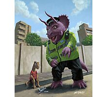 Dinosaur Community Policeman helping youngster Photographic Print