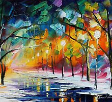 FREEZING TREES- Original Art Oil Painting By Leonid Afremov by Leonid  Afremov