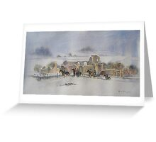 Winter Ride, Middleham Castle, N Yorkshire Greeting Card