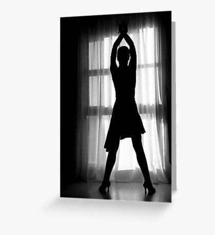Latin woman dancing silhouette Greeting Card