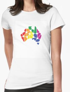 Equal Marriage Rights Australia (Rainbow Australia Logo) Womens Fitted T-Shirt