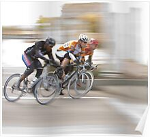 Cyclists Speeding into the Next Curve Poster