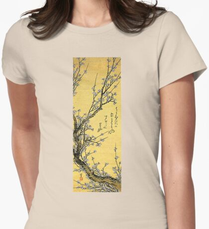 'Flowering Plum' by Katsushika Hokusai (Reproduction) Womens Fitted T-Shirt