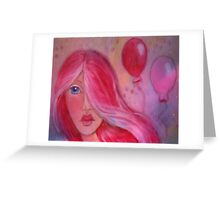 Whimsy Girl with Red Hair Greeting Card