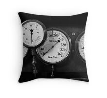 Out of steam - gauges from the steamer Stord Throw Pillow