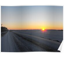 Winter Dawn over the Prairies Poster