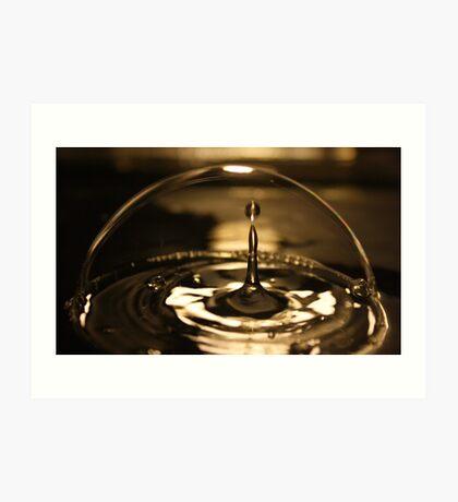 water drop impact inside a bubble Art Print