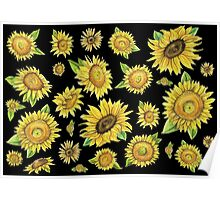 Sunflowers Black Poster
