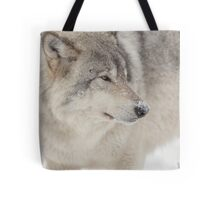 Timber wolf in winter Tote Bag