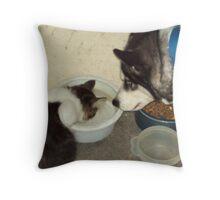 its my food cat!! Throw Pillow