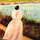Lady at the Lake-Oil Painting by Esperanza Gallego
