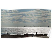 Yachts & Beach walkers. Winters Day, Semaphore, Sth. Aust. Poster