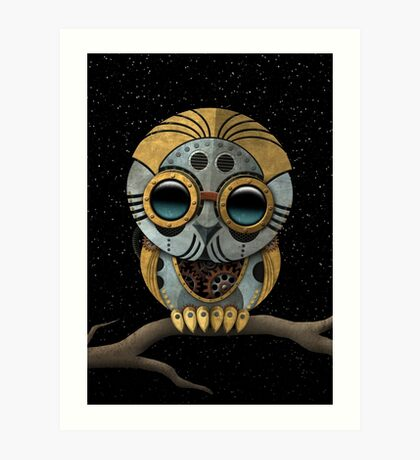 Cute Steampunk Robotic Baby Owl Art Print