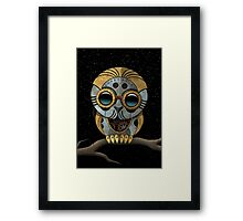 Cute Steampunk Robotic Baby Owl Framed Print