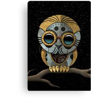 Cute Steampunk Robotic Baby Owl Canvas Print