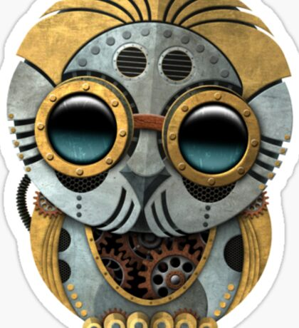 Cute Steampunk Robotic Baby Owl Sticker