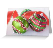 Green Baubles and Red ribbon Greeting Card