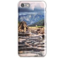 Creek Flowing Over River Rocks Beneath The Mountains iPhone Case/Skin