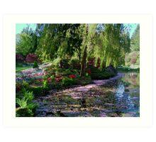 Butchart Gardens Lake in May Blossom Art Print