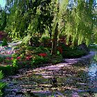 Butchart Gardens Lake in May Blossom by AnnDixon