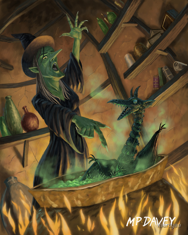 wicked witch casting spell by martyee