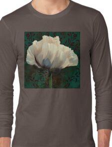 Poppy and Verdigris, dramatic cream poppy floral art Long Sleeve T-Shirt